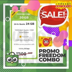 Harga 30gb perdana paket data internet indosat ooredoo freedom combo 30 | HARGALOKA.COM