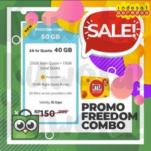 Harga 50gb perdana paket data internet indosat ooredoo freedom combo 50 | HARGALOKA.COM