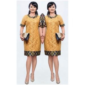 Harga dress batik wanita sherina broklat kombinasi katun prodo bali   hitam gold | HARGALOKA.COM