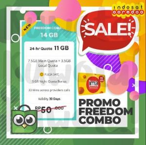 Harga 14gb perdana paket data internet indosat ooredoo freedom combo 14 | HARGALOKA.COM