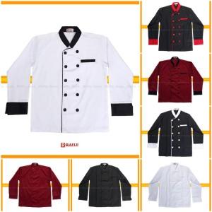 Harga baju koki chef lengan panjang pria wanita bahan drill rafly jaya   putih | HARGALOKA.COM