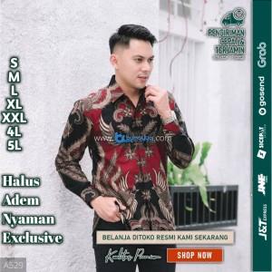 Harga baju kemeja batik pria lengan panjang pendek modern pesta kantoran g02   | HARGALOKA.COM