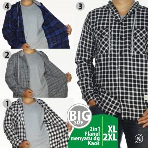 Harga kemeja flanel kaos big size 2xl 3xl 2in1 casual kerja hoodie gatshot03   hitam | HARGALOKA.COM