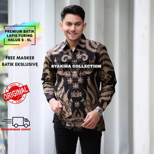 Harga baju kemeja batik pria lengan panjang modern lapis furing te015   hitam   HARGALOKA.COM