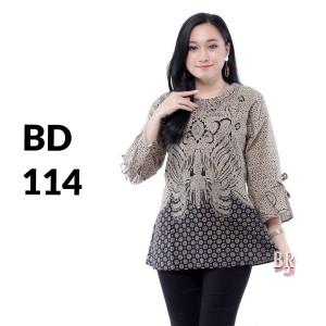 Harga blus blouse atasan batik modern wanita baju kemeja wanita batik bd 114   | HARGALOKA.COM
