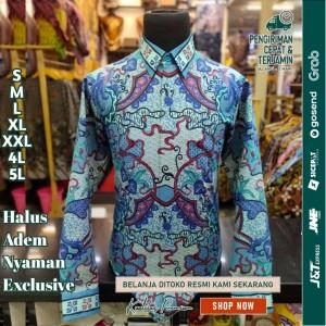 Harga baju kemeja batik pria motif tulis seperti atbm sutra pesta br04   | HARGALOKA.COM