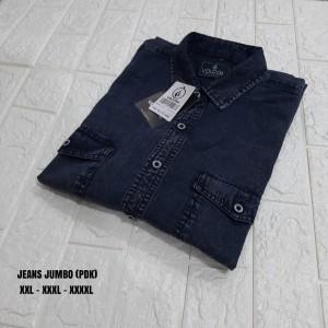 Harga kemeja jumbo jeans pria lengan pendek kemeja jumbo big size   foto ke 4 | HARGALOKA.COM