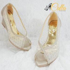 Harga 031 calla shoes sepatu pesta wedding wanita hak tinggi warna gold   gold | HARGALOKA.COM