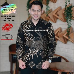 Harga baju kemeja batik pria lengan panjang modern lapis furing te012   hitam   HARGALOKA.COM