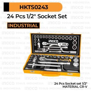 Harga 24 pcs 1 2 34 socket set ingco hkts0243 paket tools kunci sok soket | HARGALOKA.COM