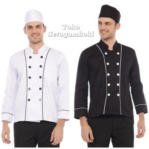 Harga baju koki baju chef list putih   hitam | HARGALOKA.COM