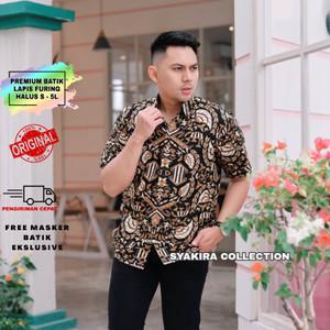 Harga baju kemeja batik pria lengan pendek modern lapis furing te010   hitam   HARGALOKA.COM