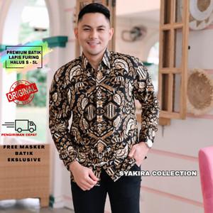 Harga baju kemeja batik pria lengan panjang modern lapis furing te023   hitam   HARGALOKA.COM