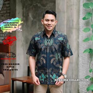 Harga baju kemeja batik pria lengan pendek modern lapis furing te011   biru   HARGALOKA.COM