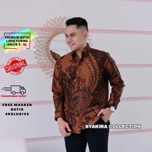 Harga baju kemeja batik pria lengan panjang modern lapis furing te024   cokelat   HARGALOKA.COM