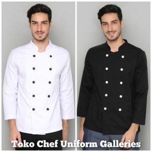 Harga baju chef seragam baju koki lengan panjang hitam premium quality   putih | HARGALOKA.COM
