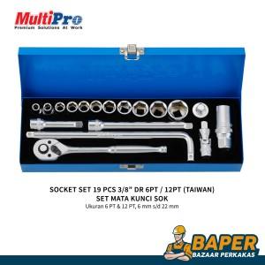 Harga multipro   kunci sok set 6 22mm 19pcs   socket set dr 6pt 3 8 34 | HARGALOKA.COM