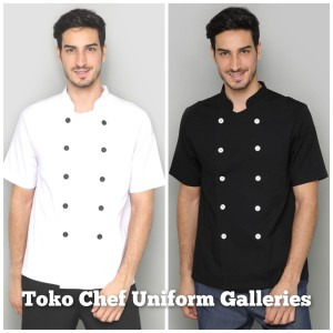 Harga baju chef seragam koki lengan pendek hitam premium quality   putih | HARGALOKA.COM