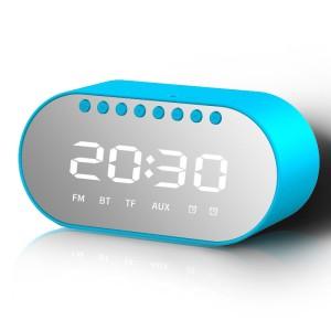 Harga binver t1 bluetooth speaker wireless digital clock portable   biru | HARGALOKA.COM