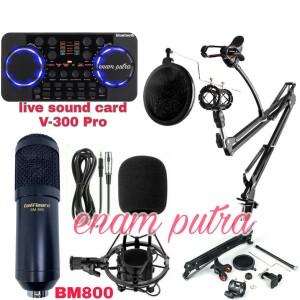 Harga paket mic rekaman bm 800 sound card v 300 pro stand arm fullset   | HARGALOKA.COM
