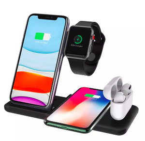 Harga 4 in 1 apple fast wireless charger charging dock stand iphone watch 3   hitam 4 in | HARGALOKA.COM