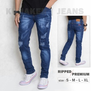 Harga celana jeans pria slim fit jeans pria distro sobek lutut kekinian ori   biru tua | HARGALOKA.COM