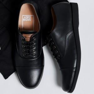 Harga oxford full black manneedme x monday sepatu pantofel pria formal ori   full hitam | HARGALOKA.COM