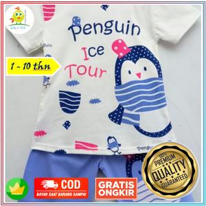 Harga baju kaos setelan anak perempuan motif penguin lucu couple 1 10 tahun   size   HARGALOKA.COM
