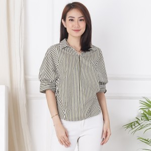 Harga ms daisy zoey blouse kasual baju atasan wanita   army stripe | HARGALOKA.COM