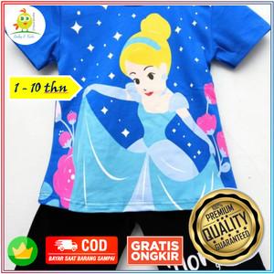 Harga baju kaos setelan anak perempuan couple motif sinderela biru 1 10 thn   size   HARGALOKA.COM