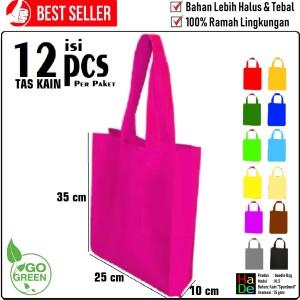 Harga 1 lusin tas kain spunbond 25x35 handle tali goodie bag kantong polos   warna apa | HARGALOKA.COM