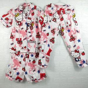 Harga piyama baju tidur pajamas wanita dewasa cp 3 in 1 katun  hello | HARGALOKA.COM