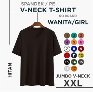 Harga promo kaos wanita vneck jumbo fit to xxl atasan wanita kaos big size   hitam | HARGALOKA.COM