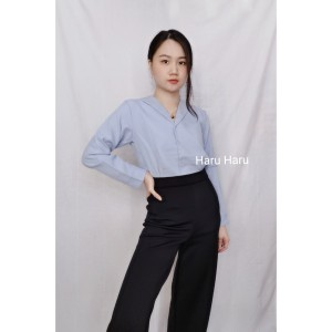 Harga baju pakaian atasan kemeja wanita cewek kancing lengan panjang korea   | HARGALOKA.COM