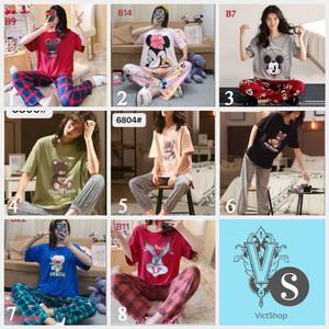 Harga baju tidur wanita bahan kaos import lengan pendek celana panjang cp   HARGALOKA.COM