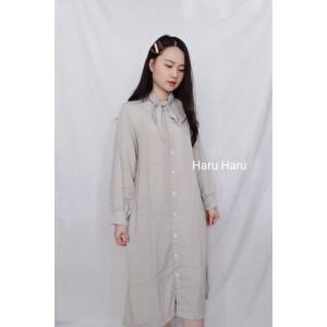 Harga baju pakaian kemeja dress korea style lengan panjang   | HARGALOKA.COM