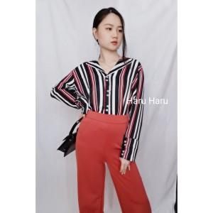 Harga baju pakaian atasan kemeja wanita cewek kancing lengan panjang   | HARGALOKA.COM