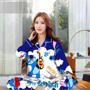 Harga piyama baju tidur wanita dewasa pp motif kartun lilo stitch   stitch music all   HARGALOKA.COM