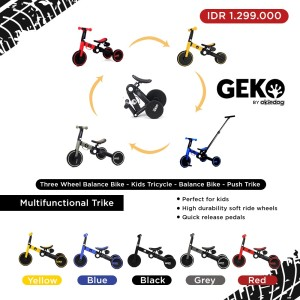 Harga geko 5 in 1 balance bike with stick by okiedog sepeda anak roda tiga   | HARGALOKA.COM