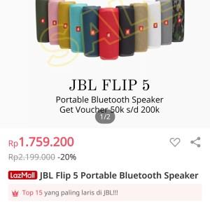 Harga jbl flip 5 speaker bluetooth garansi resmi pt ims 1 tahun   | HARGALOKA.COM