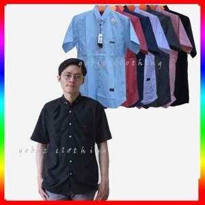 Harga kemeja cowok lengan pendek pria baju hem polos premium casual kerja xl   putih | HARGALOKA.COM