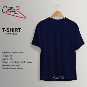Harga kaos polos baju pria kaos pria cotton kaos lengan pendek navy blue   | HARGALOKA.COM