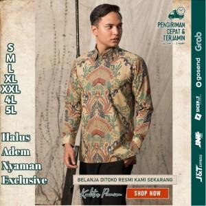Harga baju kemeja batik pria motif tulis seperti atbm sutra pesta br19   | HARGALOKA.COM