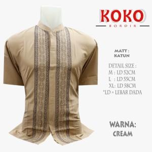 Harga baju koko pria motif bordir lengan pendek   cream | HARGALOKA.COM