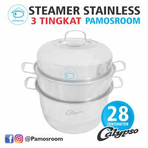 Harga calypso panci kukus steamer 3 susun 28cm dandang kukusan stainless | HARGALOKA.COM