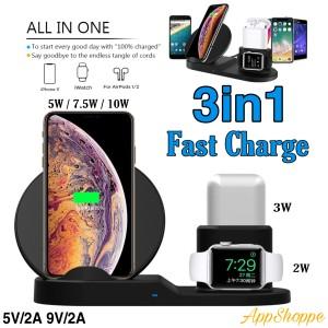 Harga 3 in 1 wireless charging dock holder station 10w qi fast | HARGALOKA.COM