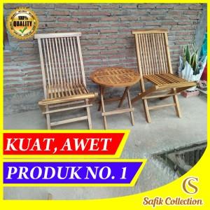 Harga cs11 set meja kursi lipat teras tamu kayu jati minimalis set murah   warna natural kotak   HARGALOKA.COM