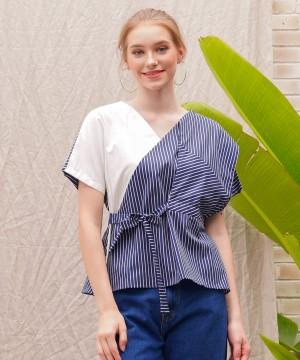 Harga blouse wanita marshavel kimono   navy with stripe   | HARGALOKA.COM