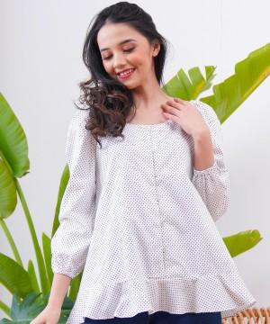 Harga blouse wanita marshavel velmar   white polkadot   | HARGALOKA.COM
