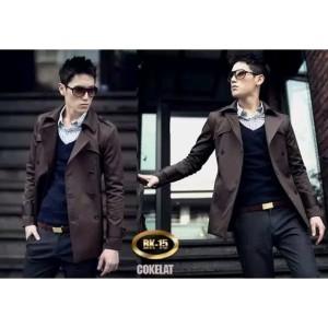 Harga long coat pria casual style korea jaket blazer panjang keren   cokelat | HARGALOKA.COM